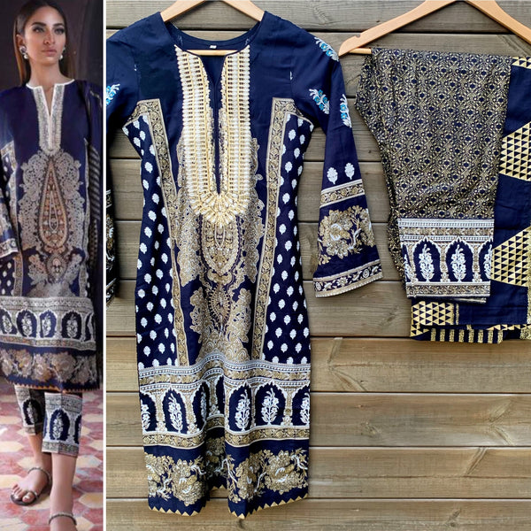 Sana Safinaz Inspired Navy Linen 3 Piece Suit