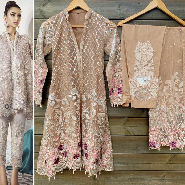 Republic by Womenswear Inspired Mocha Embroidered Net 3 Piece Suit