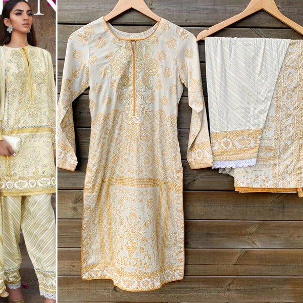 Sana Safinaz Inspired Pale Grey Linen 3 Piece Suit