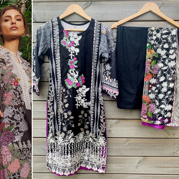 Sobia Nazir Inspired Black Embroidered 3pc Lawn Suit - WANT THAT LABEL