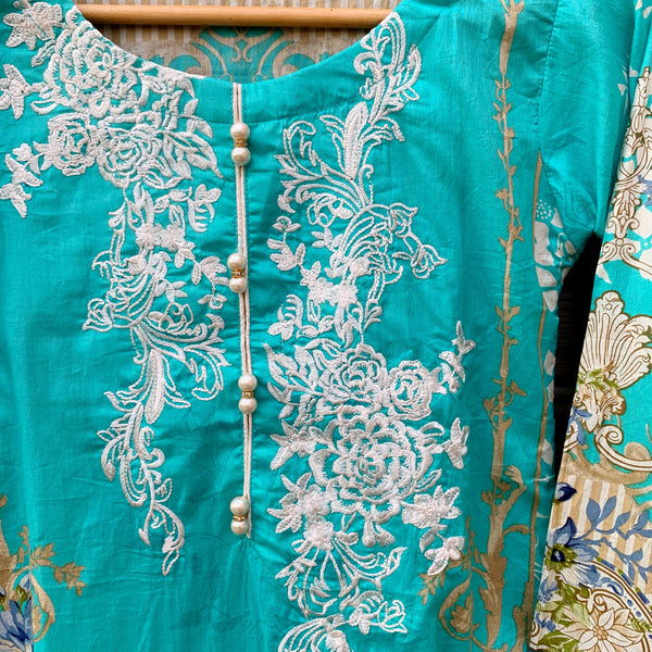 Firdous Inspired Blue Printed 3 Piece Lawn Suit - WANT THAT LABEL
