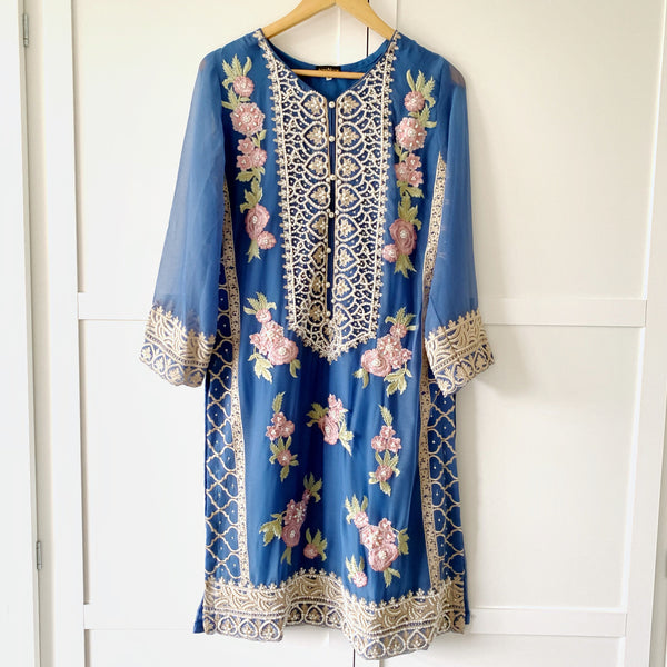 Agha Noor Original Blue Embroidered Pearl Chiffon Kurta - WANT THAT LABEL