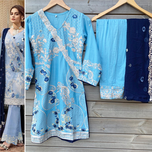 Imrozia Inspired Baby Blue Embroidered Lawn 3pc Suit - WANT THAT LABEL