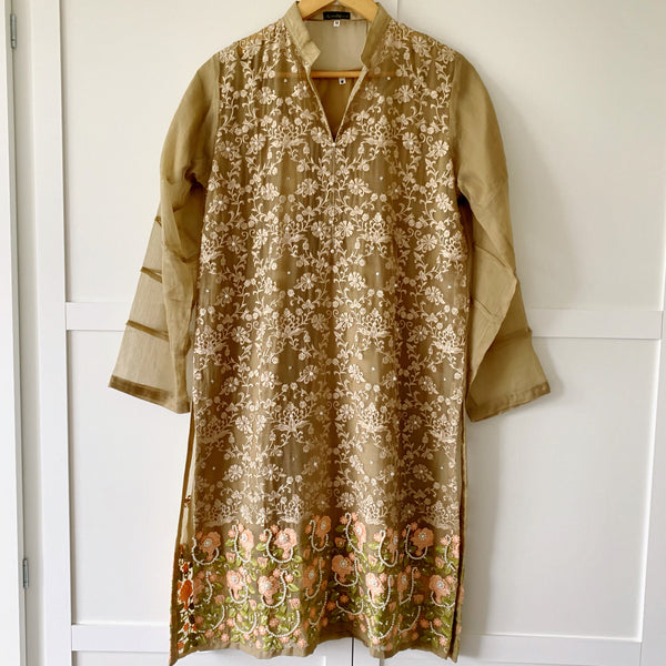 Agha Noor Original Mocha Brown Embroidered Chiffon Kurta - WANT THAT LABEL