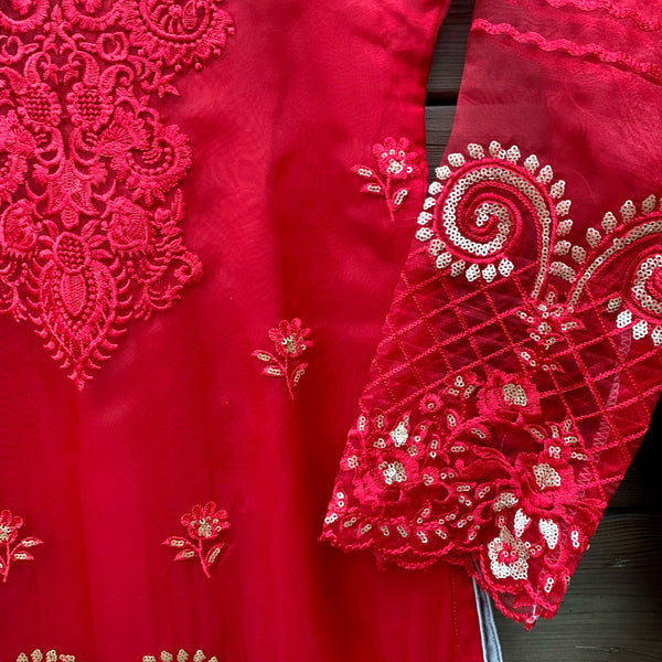 Azure Inspired Red Embroidered 3 Piece Organza Suit - WANT THAT LABEL