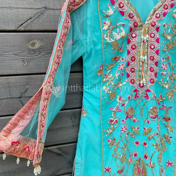 Anaya Inspired Turquoise Rose Pink Embroidered Net 3 Piece Suit - WANT THAT LABEL