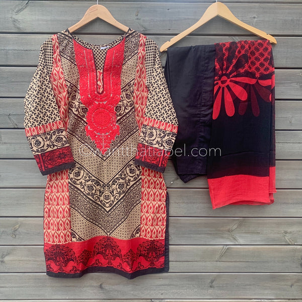 Red Black Embroidered 3 Piece Lawn Suit