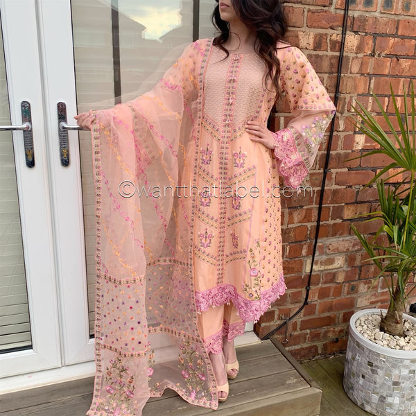 Pink Heavily Embroidered A-Line Dress Suit