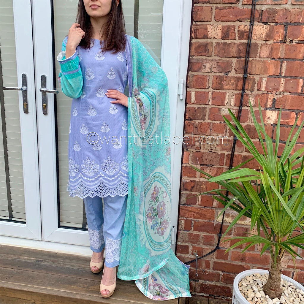 Zainab Chottani Inspired Purple Chikankari Embroidered Lawn Suit