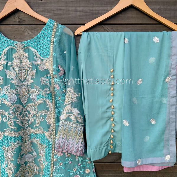 Baroque Inspired Teal Heavily Embroidered A-line Chiffon Dress Suit