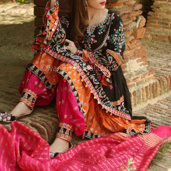 Black Pink Balochi Embroidered Layered Frock Suit