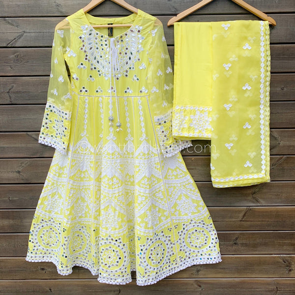 Yellow Embroidered Mirror Work Midi Frock Suit