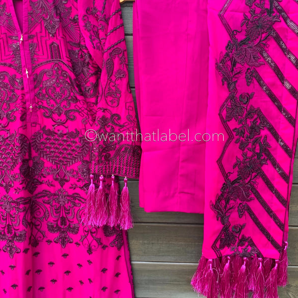 Afrozeh Hot Pink Heavily Embroidered Chiffon Suit