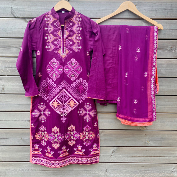 Jazmin Inspired Purple Lawn Embroidered 3pc Suit - WANT THAT LABEL