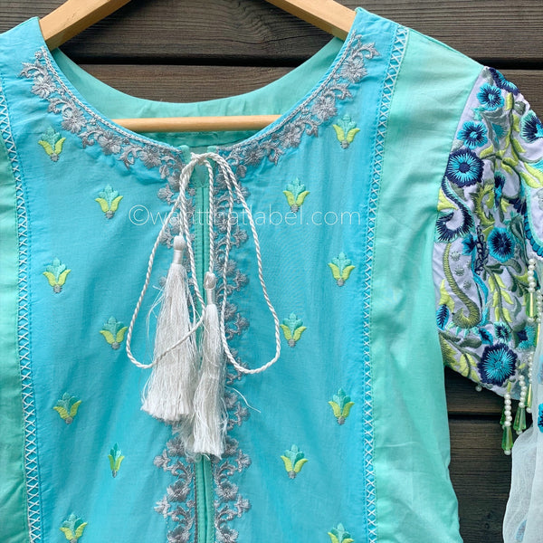 Mint Blue Embroidered 3 Piece Cotton Suit