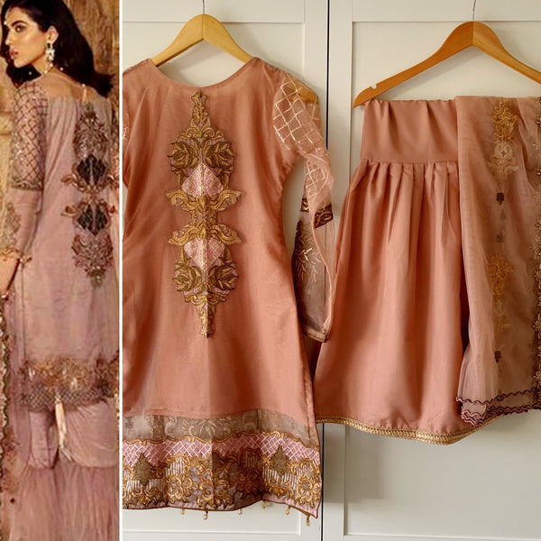 Sifona Inspired Pink Gold Zari Net Embroidered Garara Suit - WANT THAT LABEL
