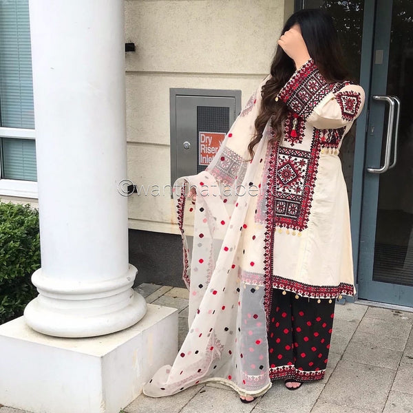 Cream Red Black Embroidered Lawn Frock Suit