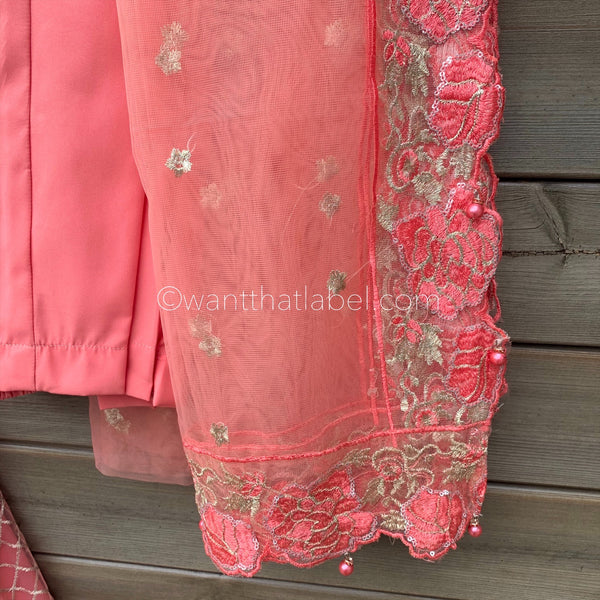 Limited Edition Pink Gold Net Embroidered Maxi Dress 3 Piece Suit - WANT THAT LABEL