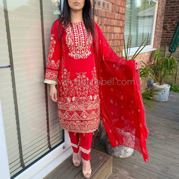 Asim Jofa Inspired Crimson Red Embroidered Lawn Suit