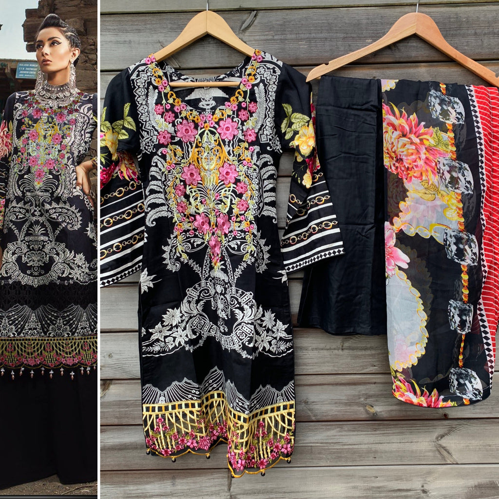 Maria B Inspired Black Embroidered Kameez Palazzo 3pc Suit - WANT THAT LABEL