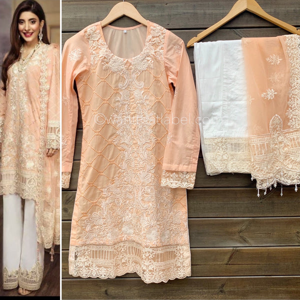 Anaya Inspired Peach Embroidered Lawn 3 Piece Suit