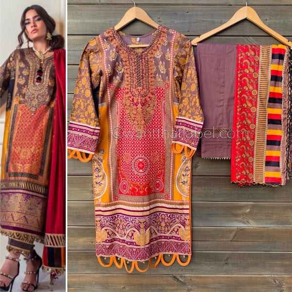 Sana Safinaz Inspired Red Orange Embroidered Suit