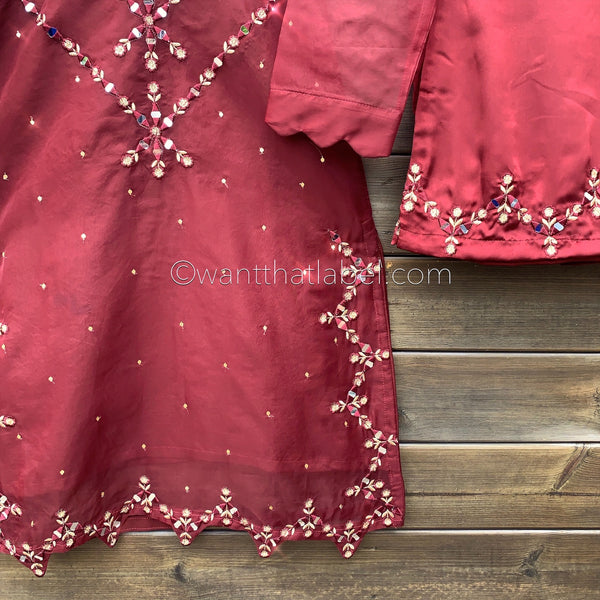 Ayat Original Maroon Mirror Embroidered 3 Piece Suit