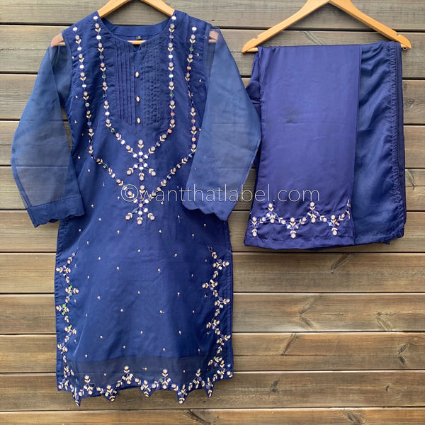 Ayat Original Navy Blue Mirror Embroidered 3 Piece Suit