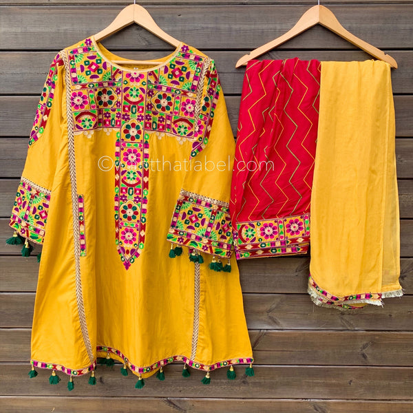 Yellow Red Afghan Embroidered Cotton Dress Suit