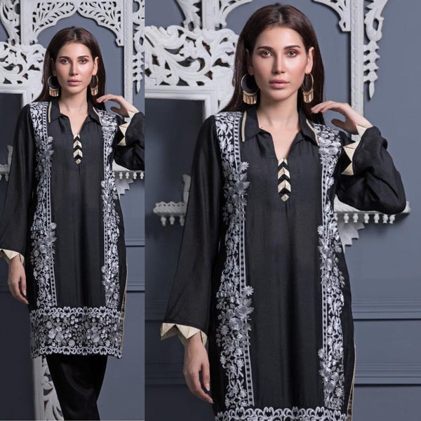 Areeba Saleem Original Black Collared White Grey Embroidered Suit
