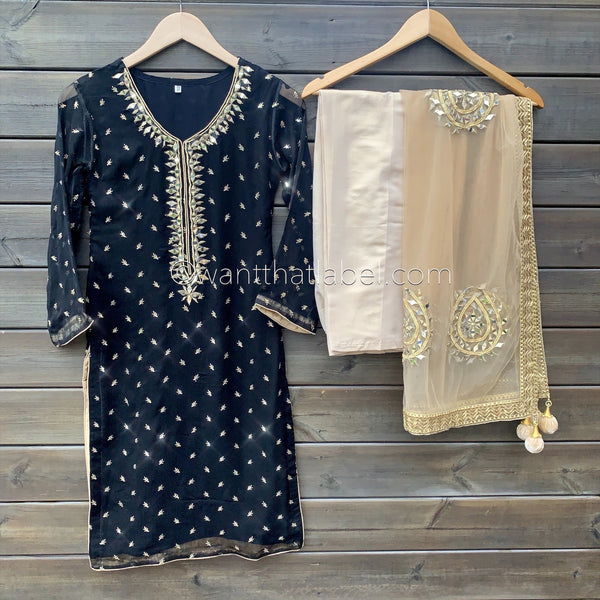 Black Gold Messoori Mirror Hand Embroidered 3 Piece Suit