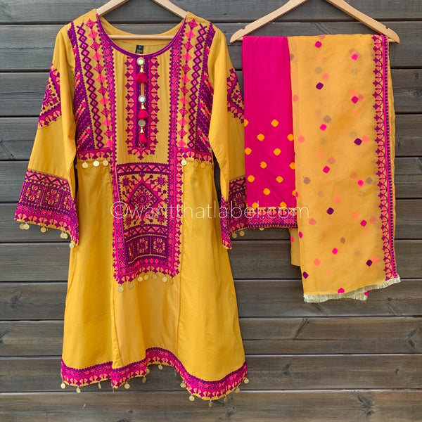 Mustard Hot Pink Embroidered Lawn 3 Frock Suit