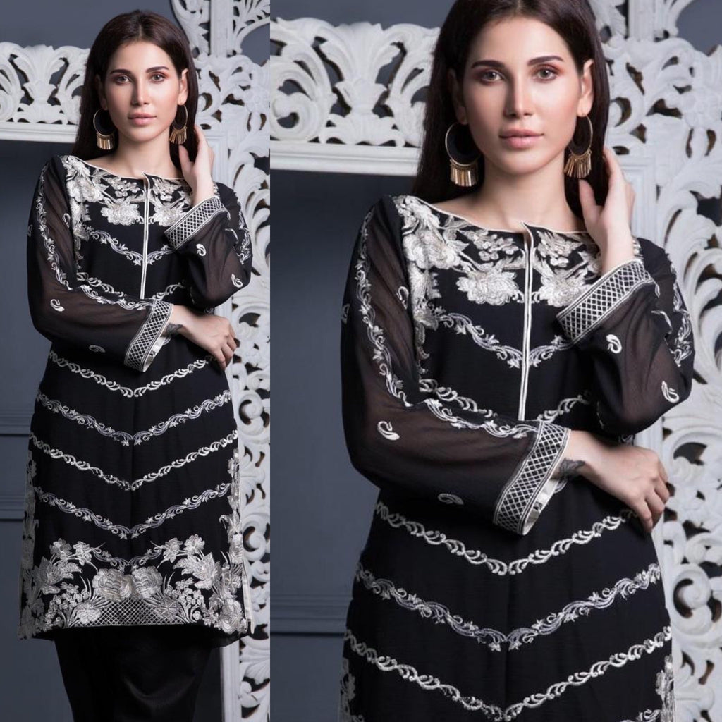 Areeba Saleem Original Black Cream Embroidered Suit