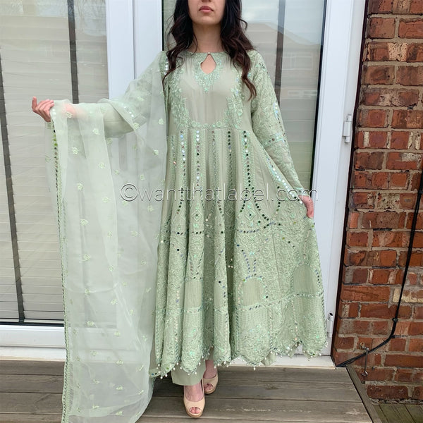 Sage Green Heavy Mirror Embroidered Maxi Dress Suit