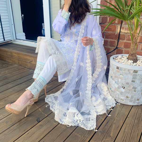Anaya Inspired Blue Embroidered Lawn 3 Piece Suit