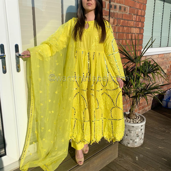 Yellow Heavy Mirror Embroidered Maxi Dress Suit