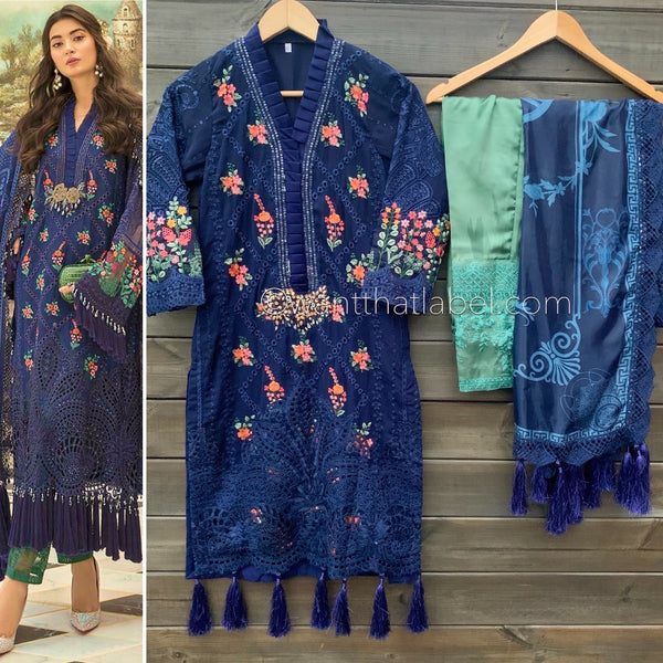 Maria B Inspired Navy Blue Embroidered Chiffon Suit