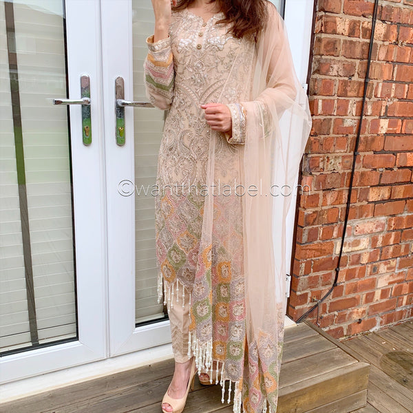 Jazmin Inspired Fawn Gold Sequin Chiffon Embroidered Suit