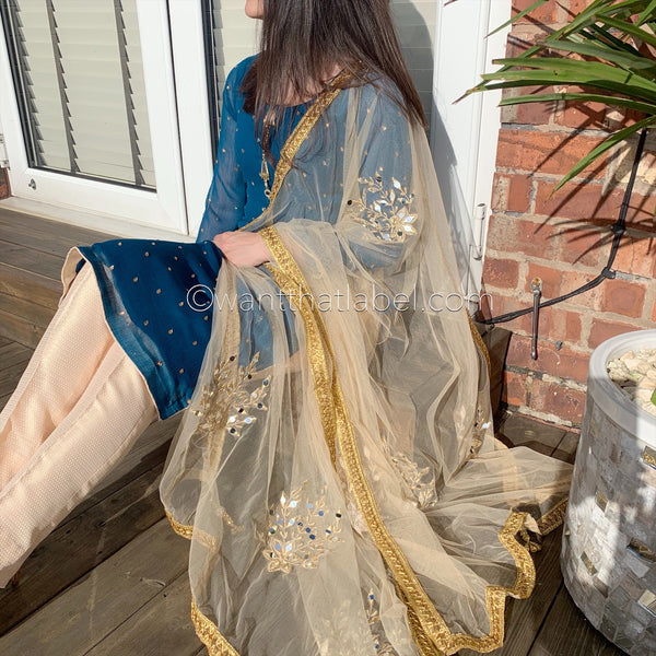 Blue Gold Chiffon Mirror Embroidered 3 Piece Suit
