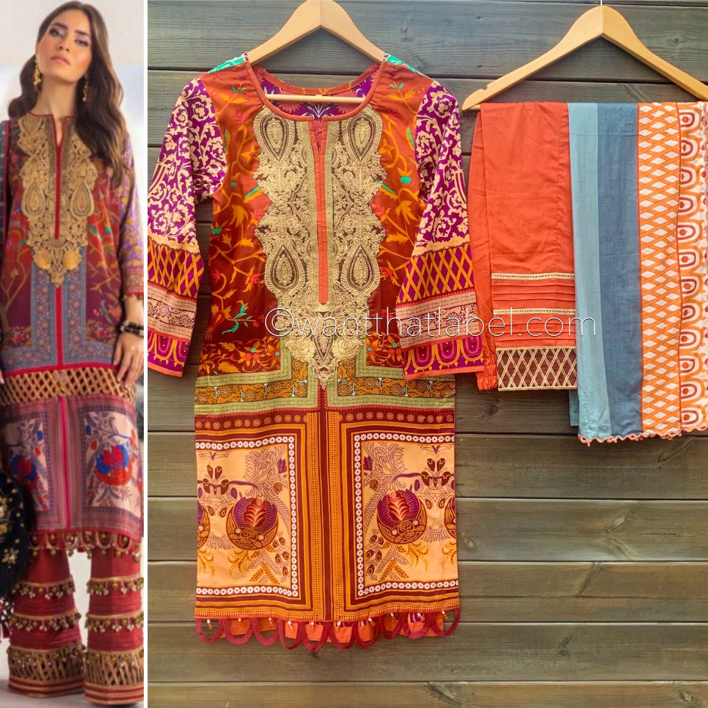 Sana Safinaz Inspired Burnt Orange Purple Embroidered Suit