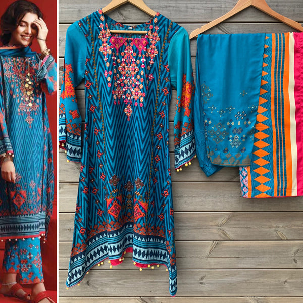 Khaadi Inspired Blue Embroidered linen A-Line Trouser Suit - WANT THAT LABEL