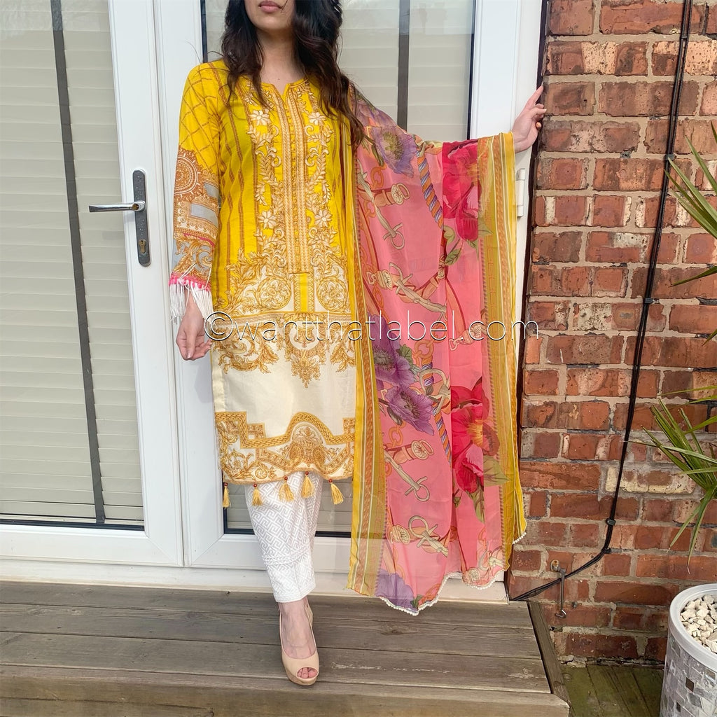 Maria B Inspired Yellow Embroidered Lawn Suit