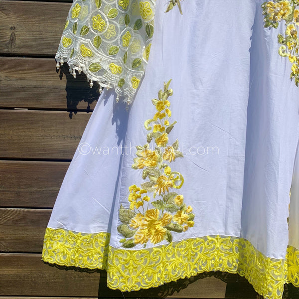 Yellow White Embroidered Cotton 3 Piece Frock Suit