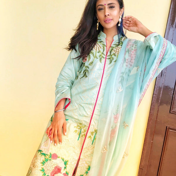 Asifa & Nabeel Inspired Green Pink Embroidered Linen Trouser Suit - WANT THAT LABEL