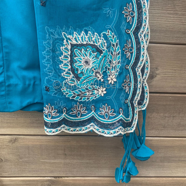 Jazmin Inspired Teal Black Heavily Embroidered Chiffon Suit