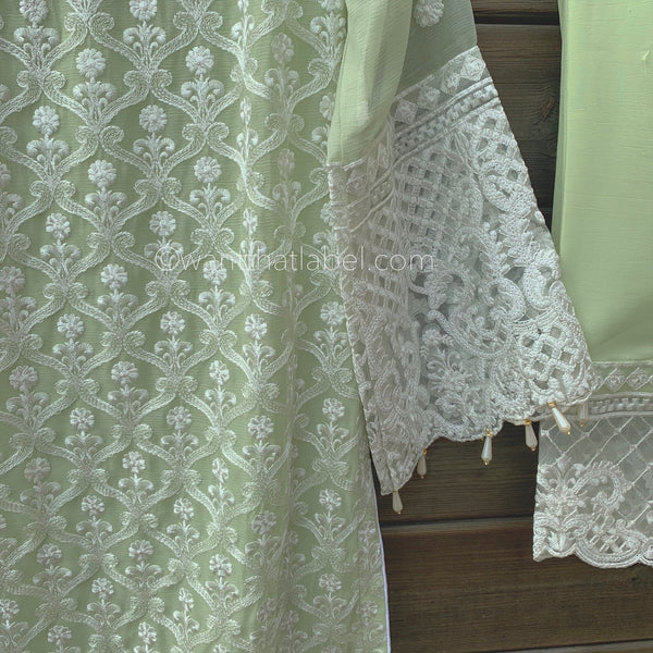 Anaya Inspired Green White Embroidered Chiffon 3 Piece Suit