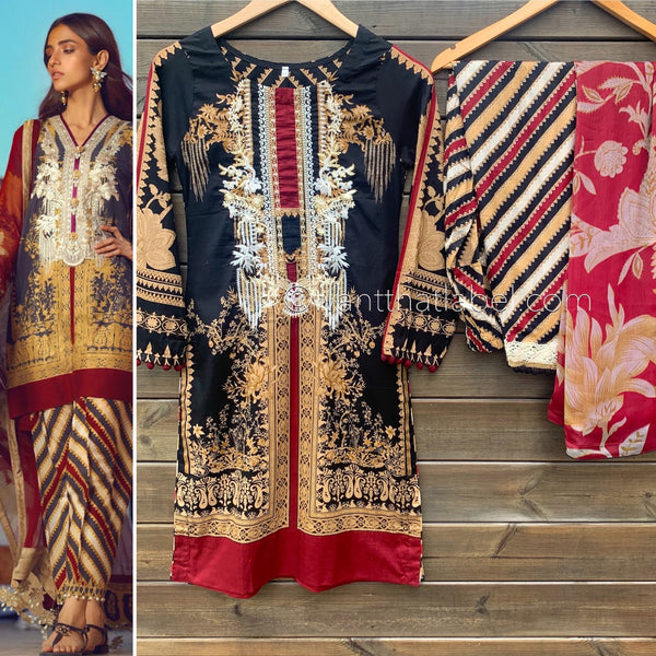 Sana Safinaz Inspired Black Maroon Embroidered Lawn Suit