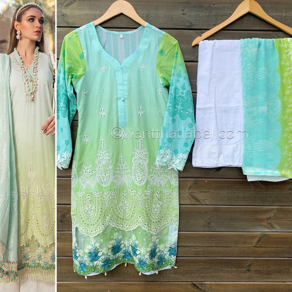 Maria B Inspired Ombre Blue Green Chikankari Lawn Suit