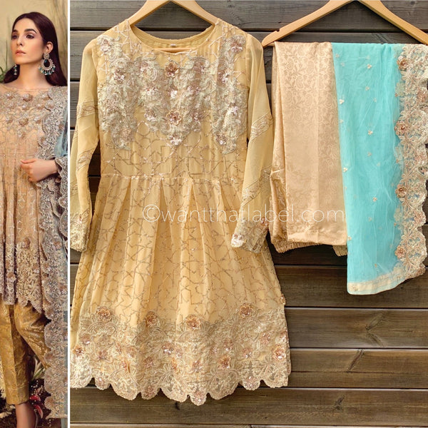 Imrozia Gold Chiffon Embroidered Frock 3 Piece Suit