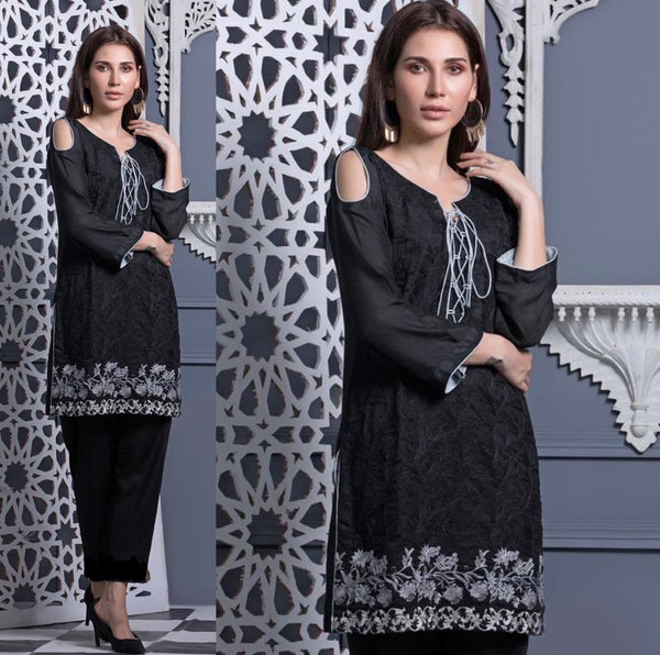 Areeba Saleem Original Black Cut Out Shoulder Embroidered Suit